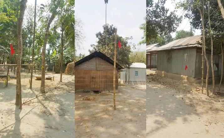 গৌরীপুরে নারায়নগঞ্জ থেকে আসা শ্রমিকদের বাড়িতে এলাকাবাসীর লাল নিশান